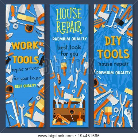 Repair and construction tool cartoon banner. Screwdriver, hammer, wrench, paintbrush and roller, pliers, spanner, saw, trowel, axe, measuring tape, spatula in tool box for house repair service design