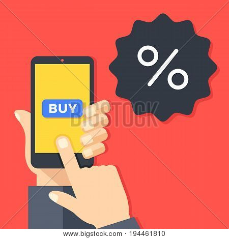 Sale, discount concepts. Hand holding smartphone with buy button. Discount badge with percent sign. Ecommerce, e-commerce, mobile commerce. Modern flat design graphic elements. Vector illustration