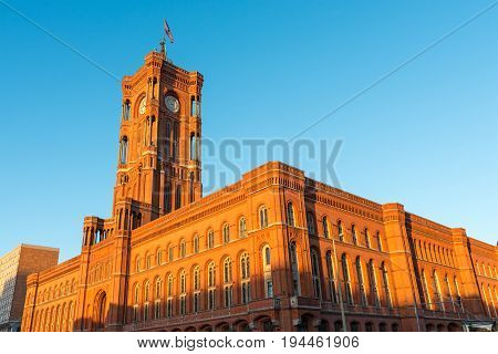 The townhall of Berlin in Germany before sunset