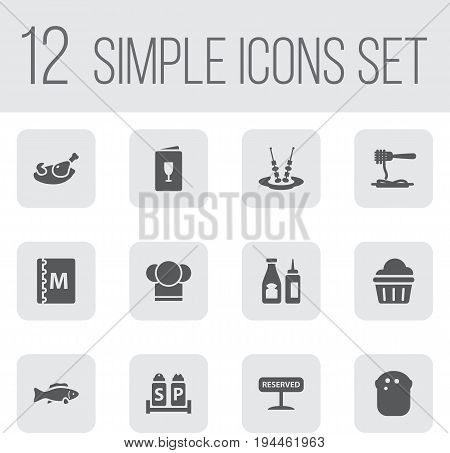Set Of 12 Bar Icons Set.Collection Of Tuna, Alcohol, Vermicelli And Other Elements.