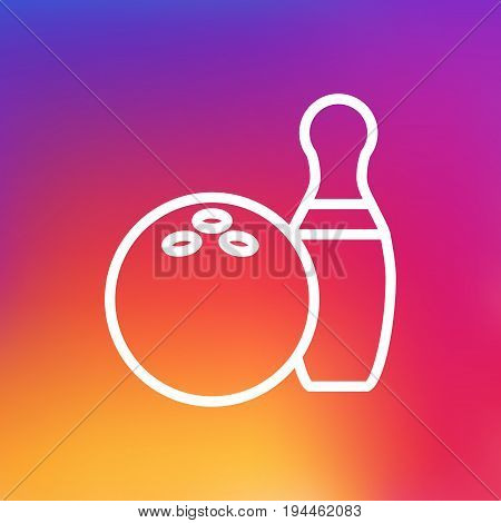 Isolated Kegling Outline Symbol On Clean Background. Vector Bowling Element In Trendy Style.
