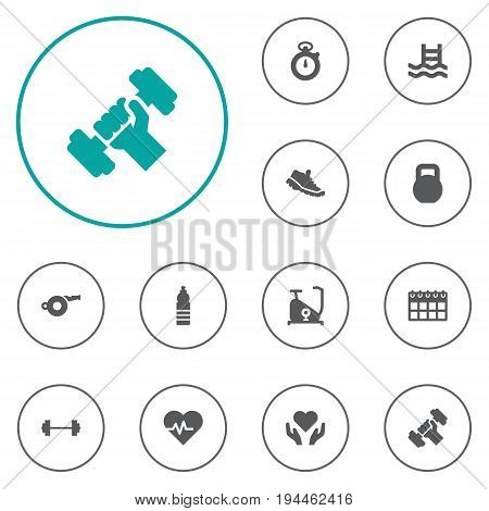 Set Of 12 Bodybuilding Icons Set.Collection Of Bodybuilding, Heartbeat, Basin And Other Elements.