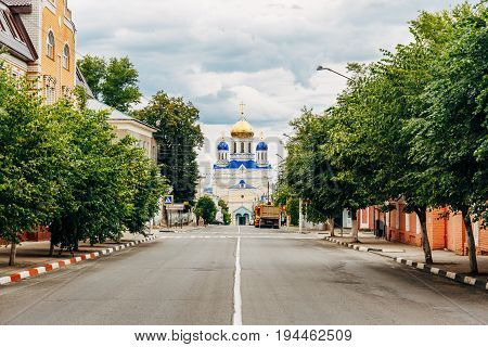 Yelets, Lipetsk region, the street leading to the Ascension Cathedral - the main Orthodox church of the city of Yelets, the cathedral church of Yelets Diocese
