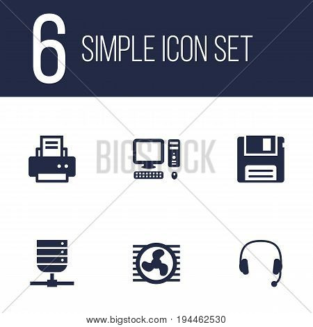 Set Of 6 Laptop Icons Set.Collection Of Peripheral, Datacenter, Fan And Other Elements.