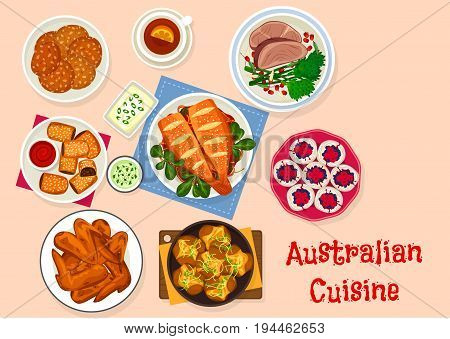 Australian cuisine traditional food icon with bbq chicken wings, beef steak, baked fish with vegetable, baked potato with herbs, lamb pie, meringue berry cake pavlova and oatmeal cookie
