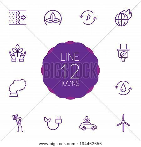 Set Of 12 Bio Outline Icons Set.Collection Of Water, Electricity, Global Warming And Other Elements.