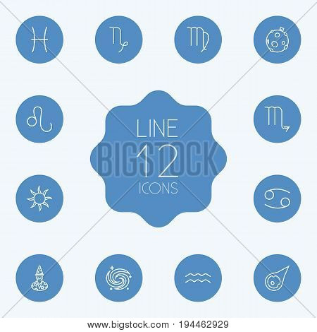 Set Of 12 Galaxy Outline Icons Set.Collection Of Capricorn, Asteroid, Pisces And Other Elements.