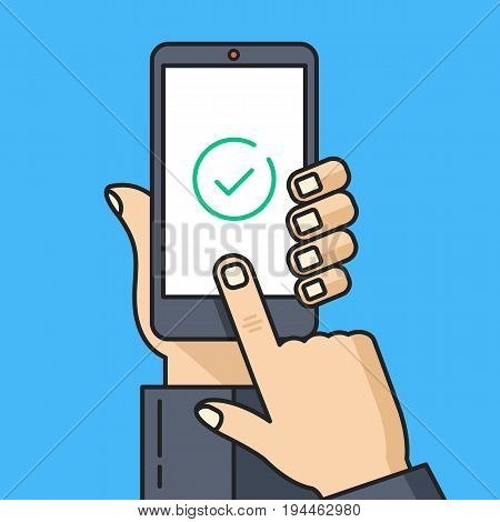 Check mark on smartphone screen. Hand holding smartphone, finger touching screen with green tick, checkmark. Confirm, accept, done, completed task concept. Modern thin line design. Vector illustration