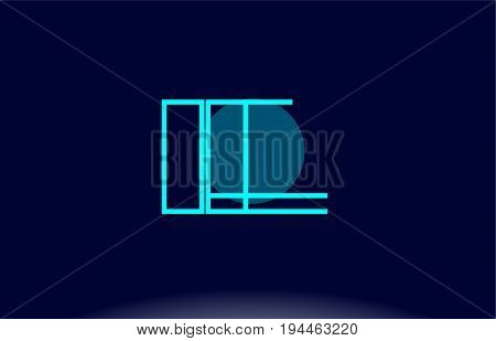 Ie I E Blue Line Circle Alphabet Letter Logo Icon Template Vector Design