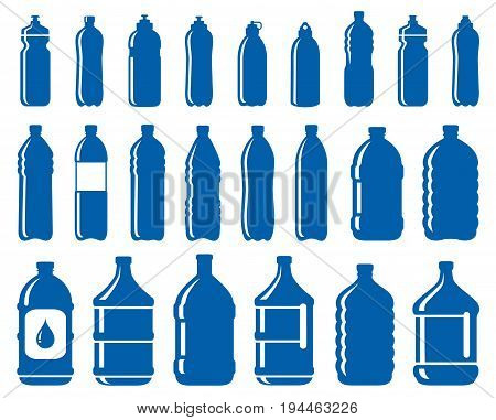 set of abstract water bottle icons on white background