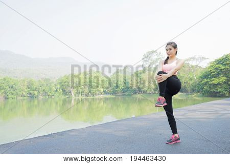 sport woman stretching before jogging and run sport concept welness concep