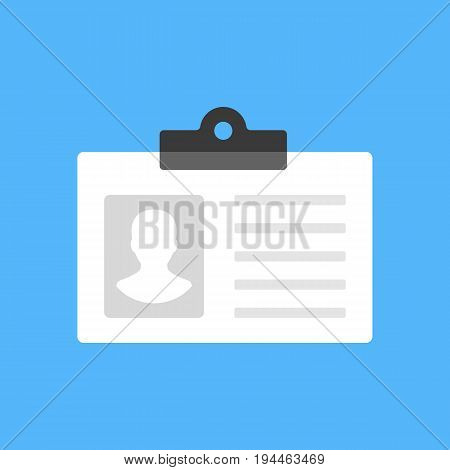 ID card, employee badge, driver's license icon. Modern flat design concept. Vector icon isolated on blue background