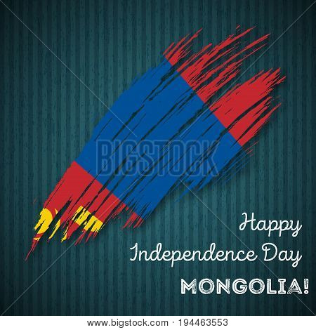 Mongolia Independence Day Patriotic Design. Expressive Brush Stroke In National Flag Colors On Dark