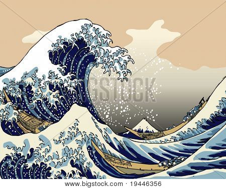 TOKYO, JAPAN APR 15: Tsunami from Japanese earthquake shown in old picture from Katsushika Hokusai. As in the past more and more people get recovered dead from the sea. April 15, 2011 in Tokyo, Japan