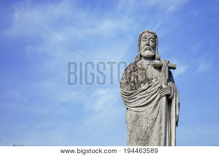 Jesus Christ as a symbol of resurrection and immortality of the human soul (ancient stone statue)