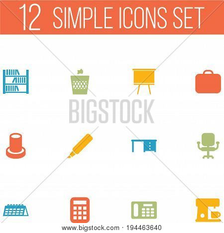 Set Of 12 Bureau Icons Set.Collection Of Label, Calculate, Date And Other Elements.
