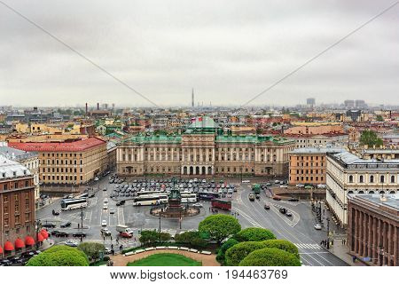View of St. Isaac's Square from the observation deck of St. Isaac's Cathedral in cloudy day, St.Petersburg, Russia, panoramic cityscape