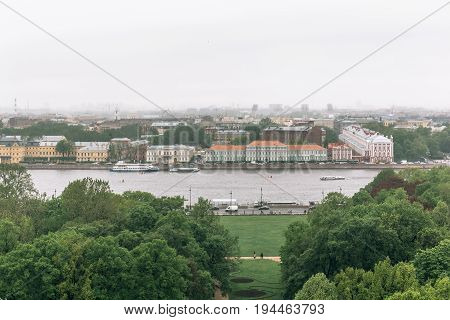 View from the colonnade of St.Isaac's Cathedral - largest Russian Orthodox cathedral or sobor in St. Petersburg