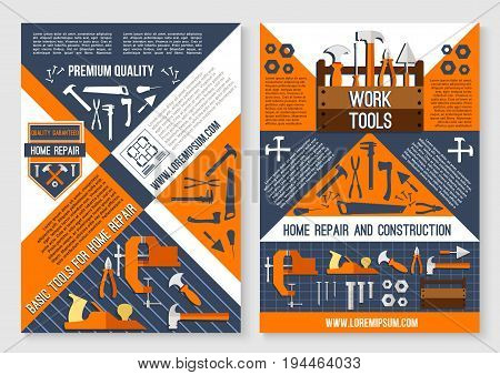 Work tool for home repair and construction poster template. Repair instrument and equipment banner set with screwdriver, hammer, spanner, pliers, wrench, axe, saw, trowel, jack plane and tool box poster