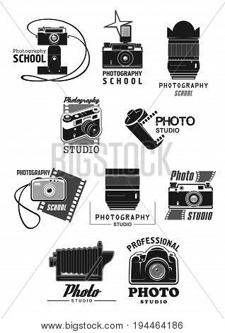 Photo studio icon set. Photo camera, digital camera lens and flash, film roll and frame isolated symbols for professional photo studio or photography school emblem design
