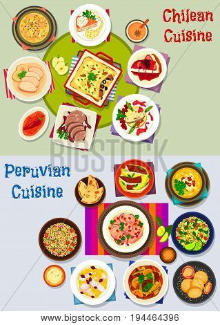 Chilean and peruvian healthy food icon set. Fish salad, soup, pie, ceviche with chilli sauce, vegetable, fruit and cheese, meat corn stew and casserole, beef steak, cheesecake, feta salad, corn cookie