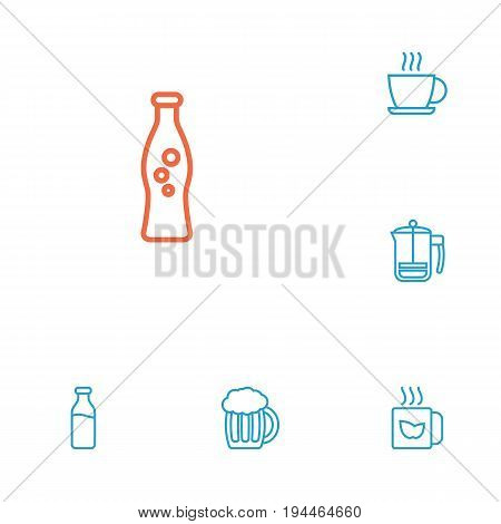 Set Of 6 Drinks Outline Icons Set.Collection Of French Press, Hot Drink, Mug And Other Elements.