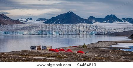 Campsite in front of a glacier Svalbard