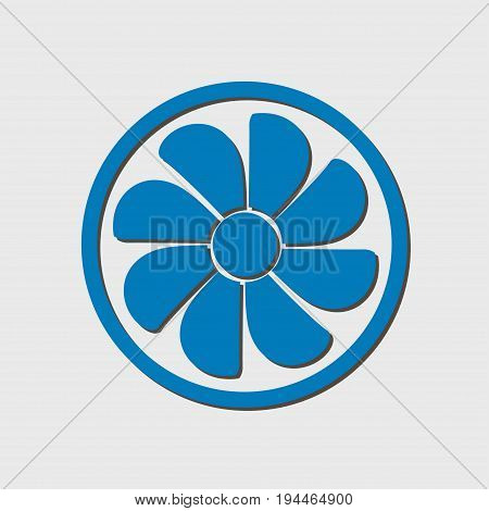 Exhaust fan icon. Ventilator symbol. Flat design style.