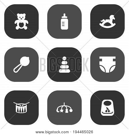Set Of 9 Kid Icons Set.Collection Of Maraca, Bear, Toy And Other Elements.