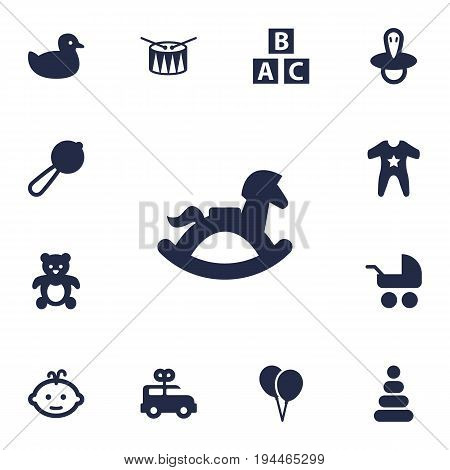Set Of 13 Baby Icons Set.Collection Of Duck, Smock, Pram And Other Elements.