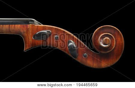 Cello Scroll Close Up Isolated On Black Background