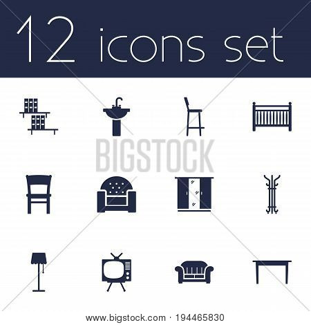 Set Of 12 Set Icons Set.Collection Of Television, Illuminator, Couch And Other Elements.