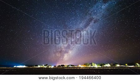 Galaxy At The Night Sky.  Milky Way Over Sesriem Camping Site, Namibia.