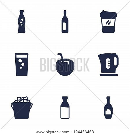 Set Of 9 Drinks Icons Set.Collection Of Espresso, Milk Glass, Fizzy Water And Other Elements.