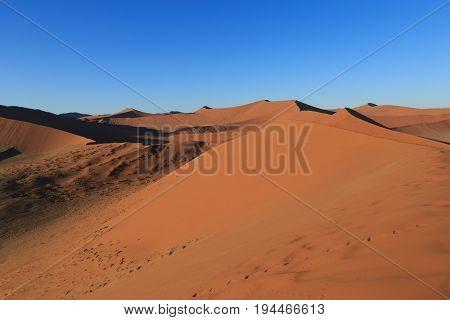 Sand Dune In Desert During Sunrise.  Sossusvlei, Namib Naukluft National Park, Namibia