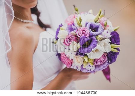 elegant bride in a white classic dress and veil holding a wedding bouquet from violet roses. Tenderness, love, wedding concept.