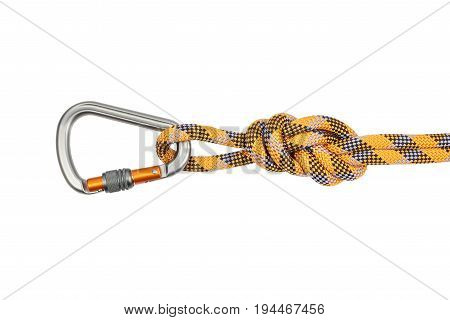 Carabiner with robe isolated on white background