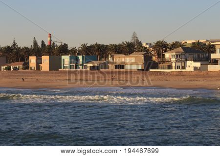 Waves And The Coastline Of Swakopmund. German Colonial Town. Namibia