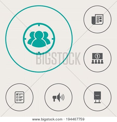 Set Of 6 Commercial Icons Set.Collection Of Billboard, Group, Journal And Other Elements.