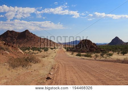 Gravel Road In Namibia, South Of Africa.