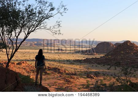 Silhouette Of A Girl At Damaraland, Namibia, Africa