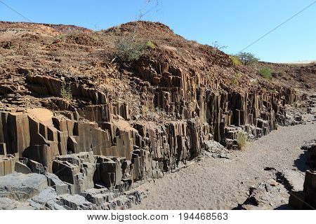 Organ Pipes Rock Formations In Damaraland, Namibia.