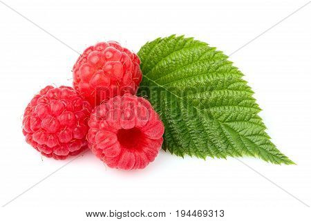 Raspberry with leaf isolated on white background.