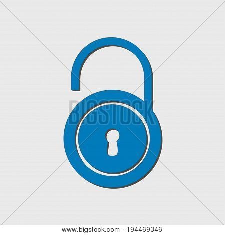 Unlock icon. Flat design style. Validation of the user completed.