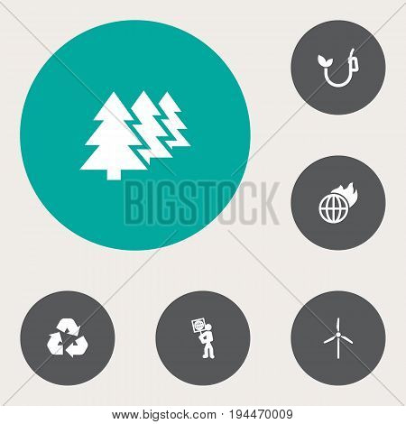 Set Of 6 Ecology Icons Set.Collection Of Volunteer, Warm, Reforestation And Other Elements.