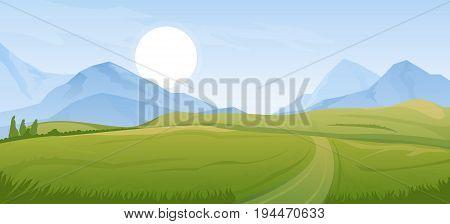 Cartoon illustration of the rural summer landscape