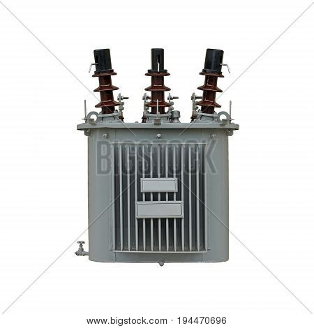 high volt electric transformer isolated on white background