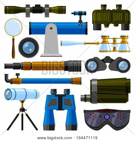 Camera lens and binoculars glass, spypyglass optics ocular device optical telescope equipment vector illustration camera digital focus optical. Lorgnette night-vision technology look-see instrument.