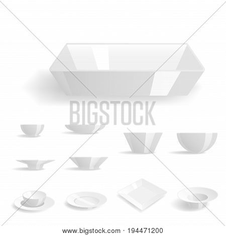Empty white plates set isolated vector illustration templates dinner design tableware blank clean tableware. Restaurant food kitchen utensil ceramics dishware fork.