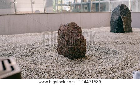 Japanese Garden Of Stones Close-up. Japanese Traditions And Wabi Sabi